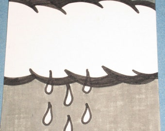 Original Drawing ACEO Black Raindrops and Grey Sky and Big White Cloud Design