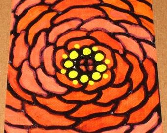 Original Drawing ACEO  Orange Flower