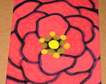 Original Drawing ACEO Orange and Red Flower