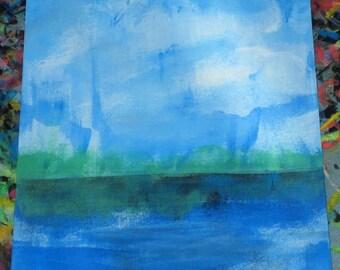 Original Drawing ACEO Blue Sky Blue Pond