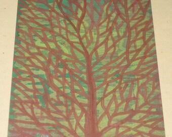 Original Drawing ACEO Brown Tree