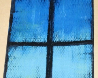 Original Drawing ACEO Blue Sky Through the Window Design