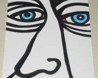 Original Drawing ACEO Blue Eyed Man Design