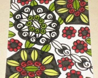 Original Drawing ACEO Red Green and Black Flower Design