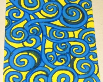 Original Drawing ACEO Blue and Yellow Swirl Design