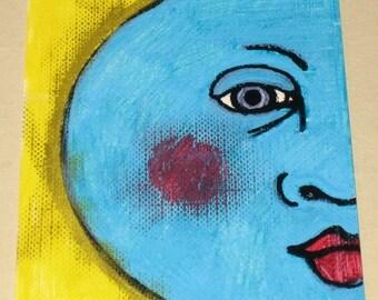 Original Drawing ACEO Blue Moon Design