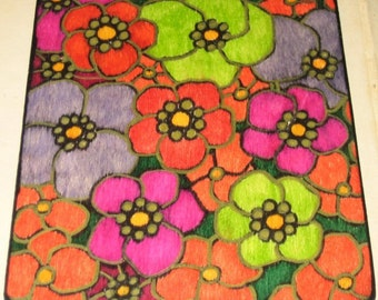Multi Color Flower Drawing Painting on Wood