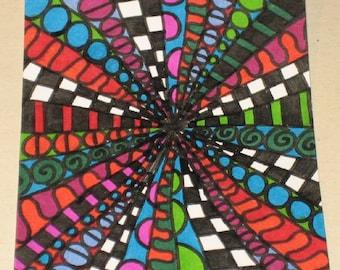 Original Drawing ACEO Multi Color Design