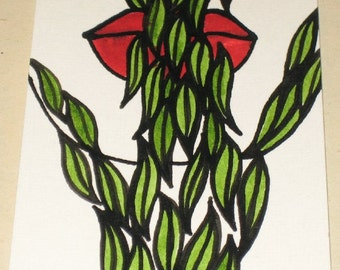 Original Pen and Ink ACEO Drawing Vine Eating Red Lips Design