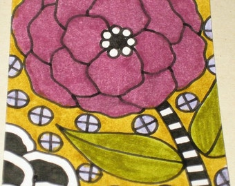 Original Drawing ACEO Black and White and Purple Flower Design