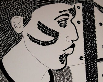 Original PEN and INK Drawing Thick Hair Woman