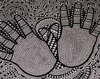 Hands Original Pen and Ink Drawing