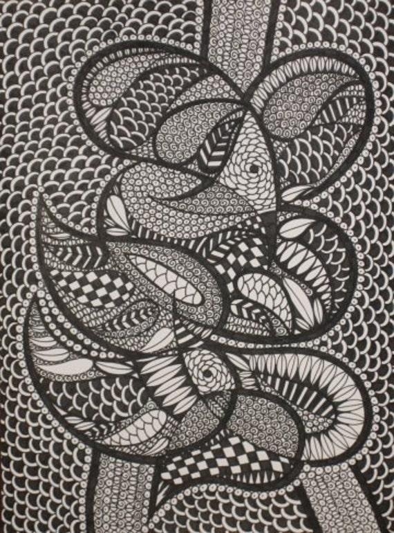 Original Ink Drawing ABSTRACT BIRDS