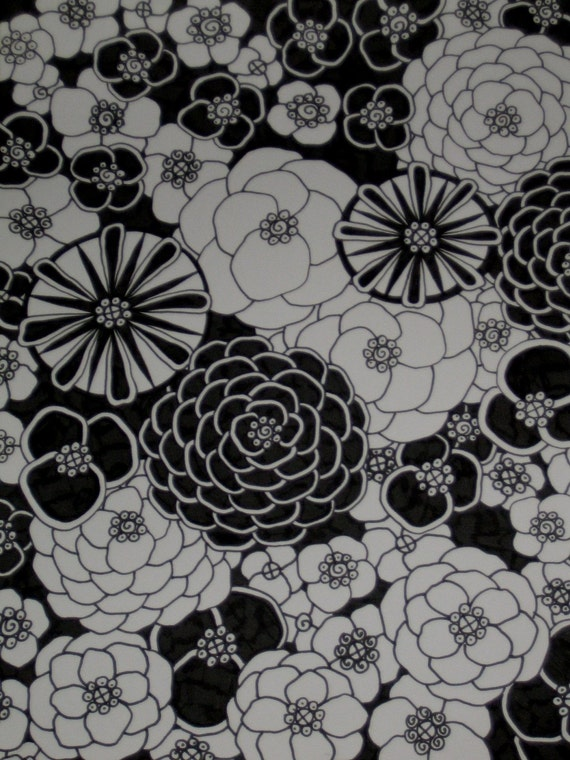 Pen and Ink Drawing Black and White Flowers