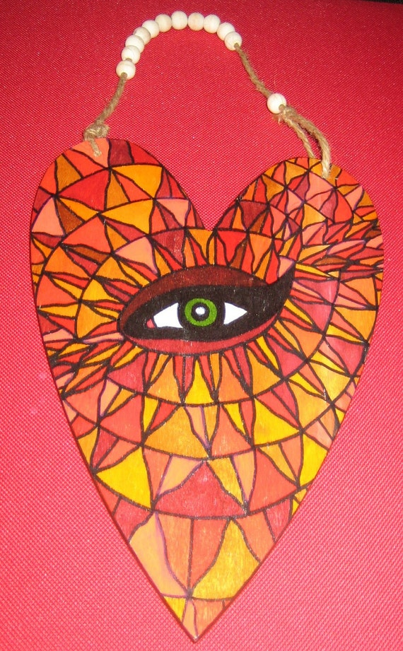 Painted Eye Wooden Heart Wall Hanging Reds Oranges