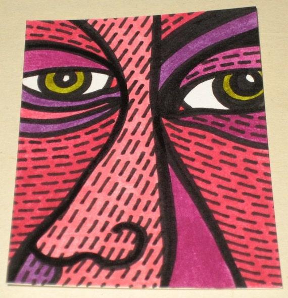 Original Drawing ACEO Pink Purple Face Man Design