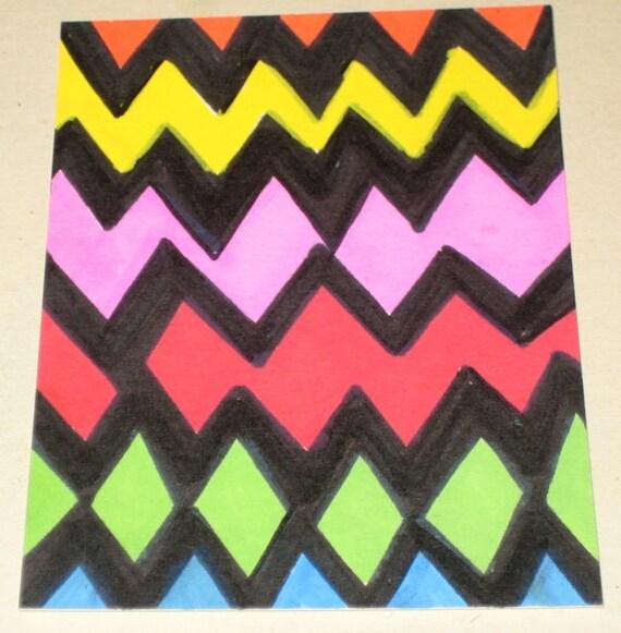Original Drawing ACEO Multi Color ZigZag Stripes Design
