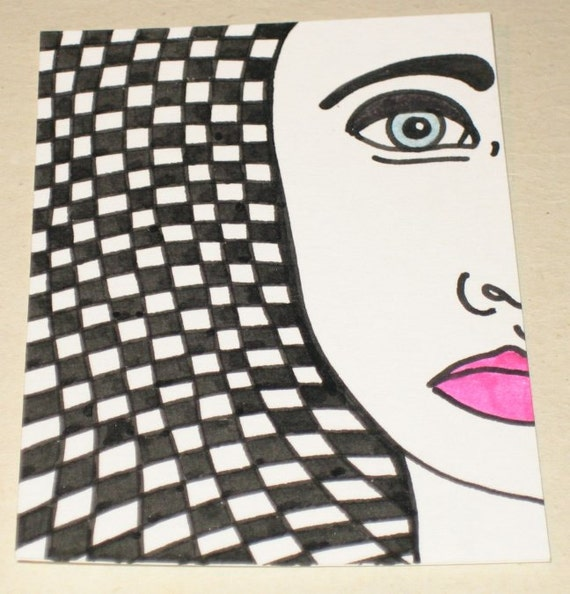 Original Drawing ACEO Pink Lips and Black and White Checks Woman Design