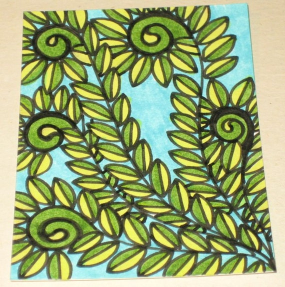 Original Drawing ACEO Green Fiddlehead Ferns and Blue Sky Design