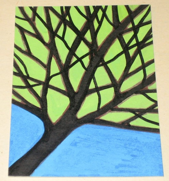 Original Drawing ACEO Black Tree Green Leaves Blue Sky Design