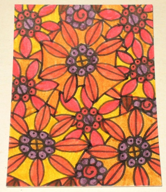 Original Drawing ACEO Autumn Colours Flowers Design