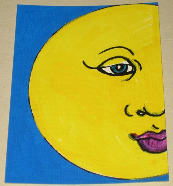 Original Drawing ACEO Yellow Moon and Blue Sky Design