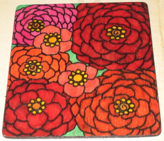 Red Orange Pink Flowers Drawing Painting on Wood