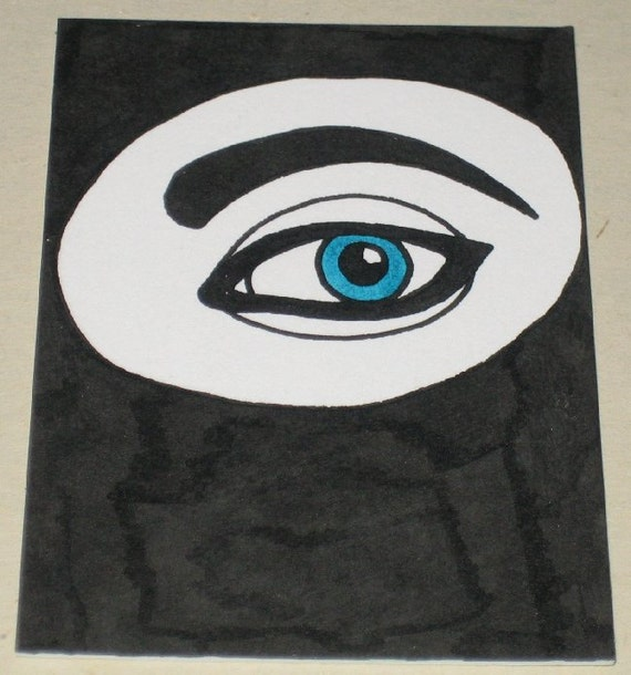 Original Drawing ACEO Black and White Eye Design