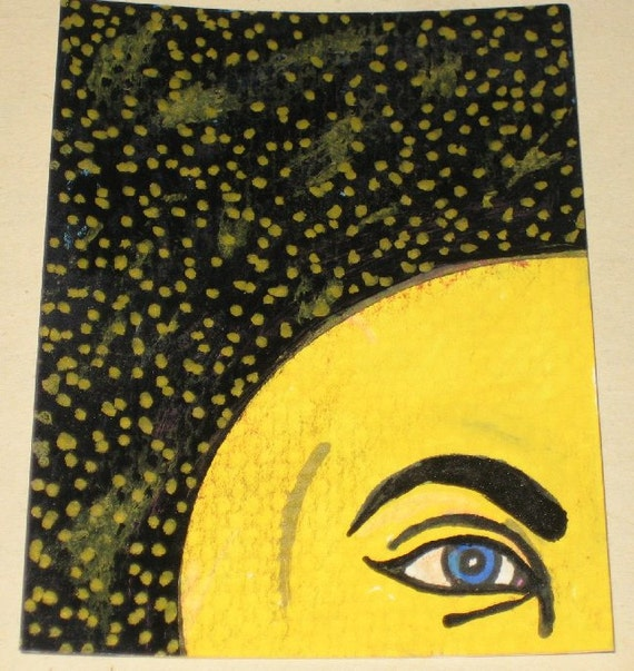 Original Pen and Ink Drawing Yellow Moon Face and Stars Design