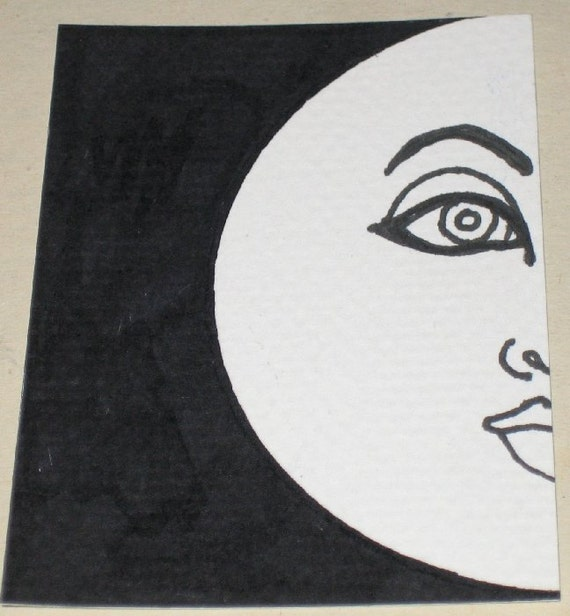 Original Pen and Ink Drawing White Moon Face Design