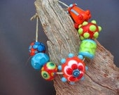 Fun and Bright, Handmade, Lampwork, Bead Set, Fiesta, Bright, Valley Creek Studio