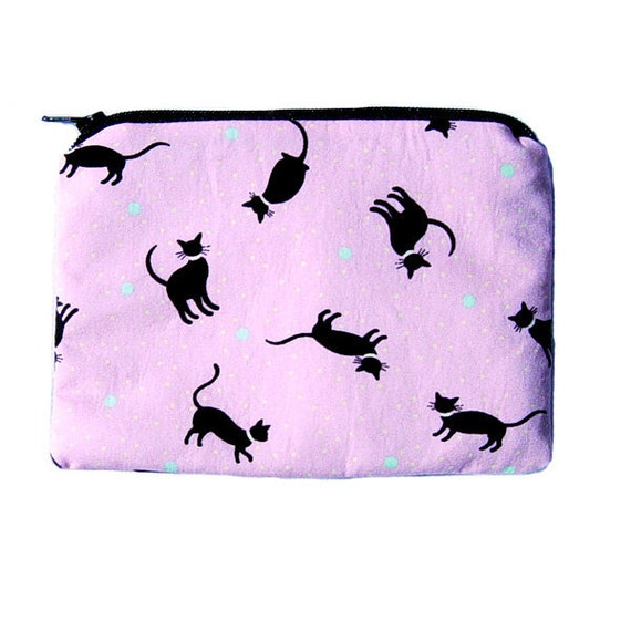 Medium Zipper Pouch or Coin Purse with Black Cats on Pink Background
