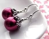 Magenta Pearl Earrings - Antiqued Silver, Hot Pink, Fuchsia Pink, Raspberry Pink, Vintage Style Pearl Earrings, Wedding Bridesmaid Jewelry