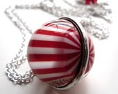 Red White Peppermint Necklace, Christmas Necklace, Holiday Jewelry, Vintage Candy Cane Stripe Peppermint Pendant, Long Silver Chain