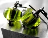 Lime Green Glass Earrings - Bright Citrus Green Glass Bead Earrings, Small Green Earrings, Oxidized Silver Earring Hooks, Modern Earrings