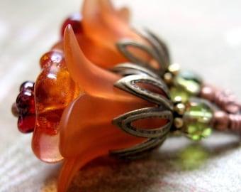 Orange Flower Earrings - Halloween Earrings, Pumpkin Orange Earrings, Vintage Style Halloween Jewelry, Gift for Gardener, Fall Jewelry