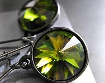 Olivine Green Crystal Earrings, Swarovski Rivoli Crystal Earrings, Black Gunmetal Bezel Settings, Bridesmaid Jewelry, August Birthday Gift