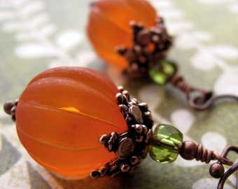 Orange Pumpkin Earrings, Vintage Style Halloween Jewelry, Orange Halloween Earrrings, Thanksgiving Jewelry, Orange Pumpkin Jewelry