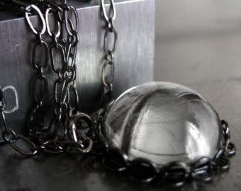Quiet Reflection - Vintage Swarovski Crystal Pendant Necklace, Black Gunmetal Chain, Round Soft Grey Gray Crystal Pendant, Layering Necklace
