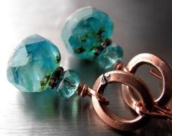 Earthy Aqua Glass Earrings, Petite Aqua Teal Turquoise Earrings, Long Bright Copper Earwires, Rustic Jewelry, Tropical Summer Beach Colors