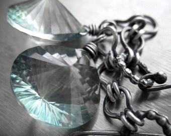 Exquisite Seafoam Green Quartz Gemstone Earrings, Oxidized Sterling Silver, Soft Mint Green Quartz Earrings, Modern Jewelry, Luxury Gift
