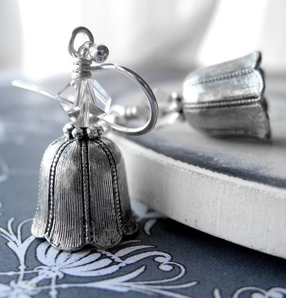Silver Bell Earrings with Crystal - Antiqued Pewter Bells Bell Charm, Christmas, Winter Wedding, Vintage Style Bridal Jewelry, December Gift