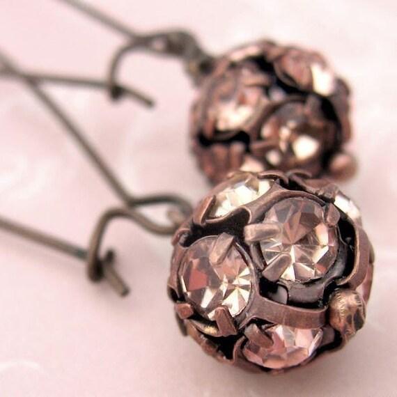 Rose Pink Crystal Ball Earrings - La Vie en Rose