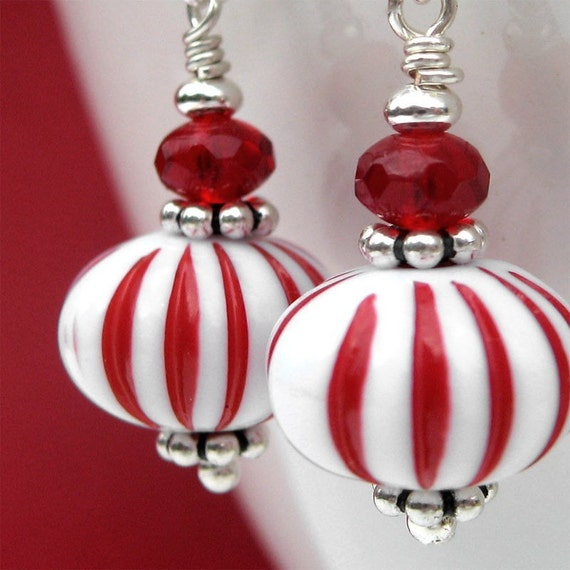 Red And White Peppermint Candy Christmas Earrings