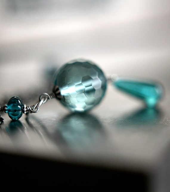 Long Aqua Teal Necklace - Faceted Aqua Glass Bead Teardrop Pendant, Long Black Gunmetal Chain, Nautical Jewelry - Mystic Fortune Teller