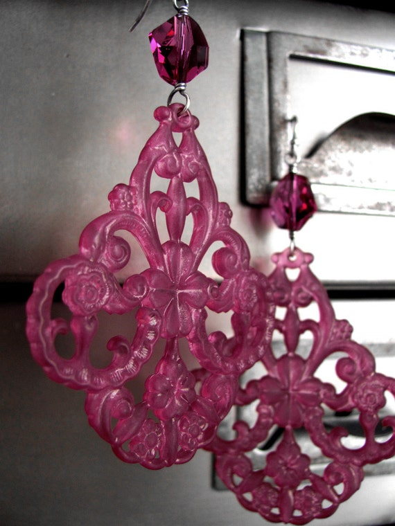 Raspberry Pink Chandelier Earrings, Magenta Swarovski Crystal, Large Fuchsia Decorative Acrylic Chandeliers, Valentines Day Gift for Her