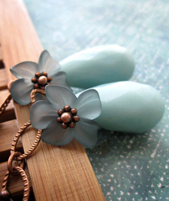 Dusty Teal Flower Earrings, Pale Aqua Amazonite Gemstone Teardrops, Antiqued Copper, Gift for Gardener Nature Lover - Tropical Garden