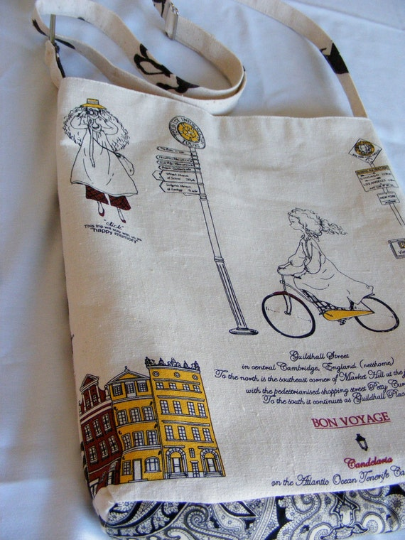 Unique and Charming Girl Traveling on Bike  Large linen and Cotton messenger bag