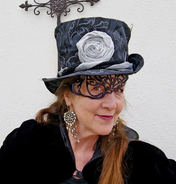 Woman's Victorian, Steampunk, Mardi Gras, Shabby Chic, Black and Silver, Top Hat
