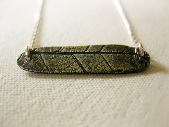 Mulberry leaf imprint on pure silver - one of a kind necklace